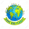 112712224 save our planet concept eco ecology earth climate changes earth day april 22 planet with ribbon and 2
